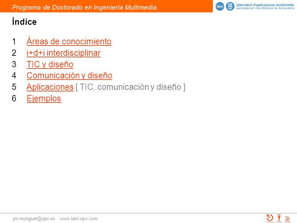 ÍndiceÁreas de conocimiento. i+d+i interdisciplinar. TIC y diseño. Comunicación y diseño. Aplicaciones [ TIC, comunicación y diseño ]